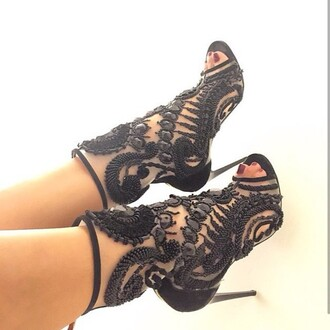 shoes embellished black heels sequined sequin peep toe heels peep toe boots
