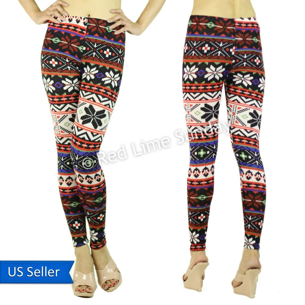 New Cute Multicolored Aztec Tribal Nordic Pop Warm Winter Leggings Tights Pants