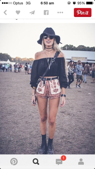 top shirt too indi indie shorts tribal belt coachella aztec festival shoes