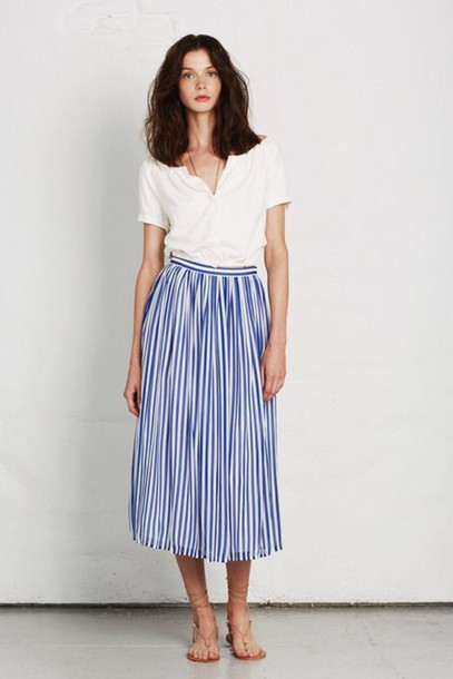 skirt stripes white blouse