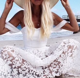 dress floral dress white dress lace dress flowered skirt beach dress 2015 trends