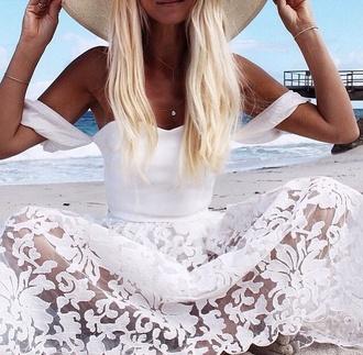 dress floral dress white dress lace dress flowered skirt beach dress 2015 trends