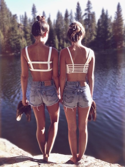 shorts jeans blue jeans high waisted jeans blue cute high waisted short summer white tops tank top shirt white, crop top, cute, summer, top swimwear bra tank