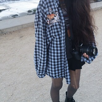 flannel shirt vintage oversized sweater flannel blue cats plaid button up sweater clothes shirt