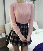blouse,back to school,school uniform,uniform,school girl,skirt,tartan,girly,short skirt,mini skirt,grey,sweater,knitted sweater,pink,pale,plaid,pleated skirt,pleated,shirt,retro,fall outfits,comfy,cute,american apparel,sweet
