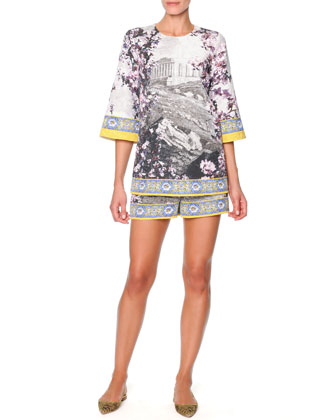 Dolce & Gabbana Floral & Ancient Ruin-Print Tunic & Shorts - Neiman Marcus