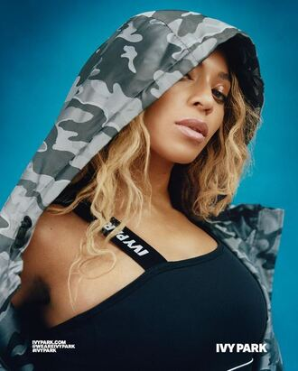 top sportswear sports bra beyonce instagram ivy park camouflage camo jacket jacket