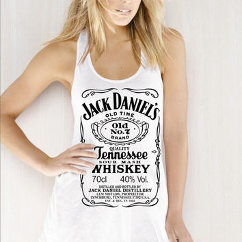 7fb1623a3b92b4 Jack Daniels whiskey Women Ladies  Flowy Racerback Tank top tee ...