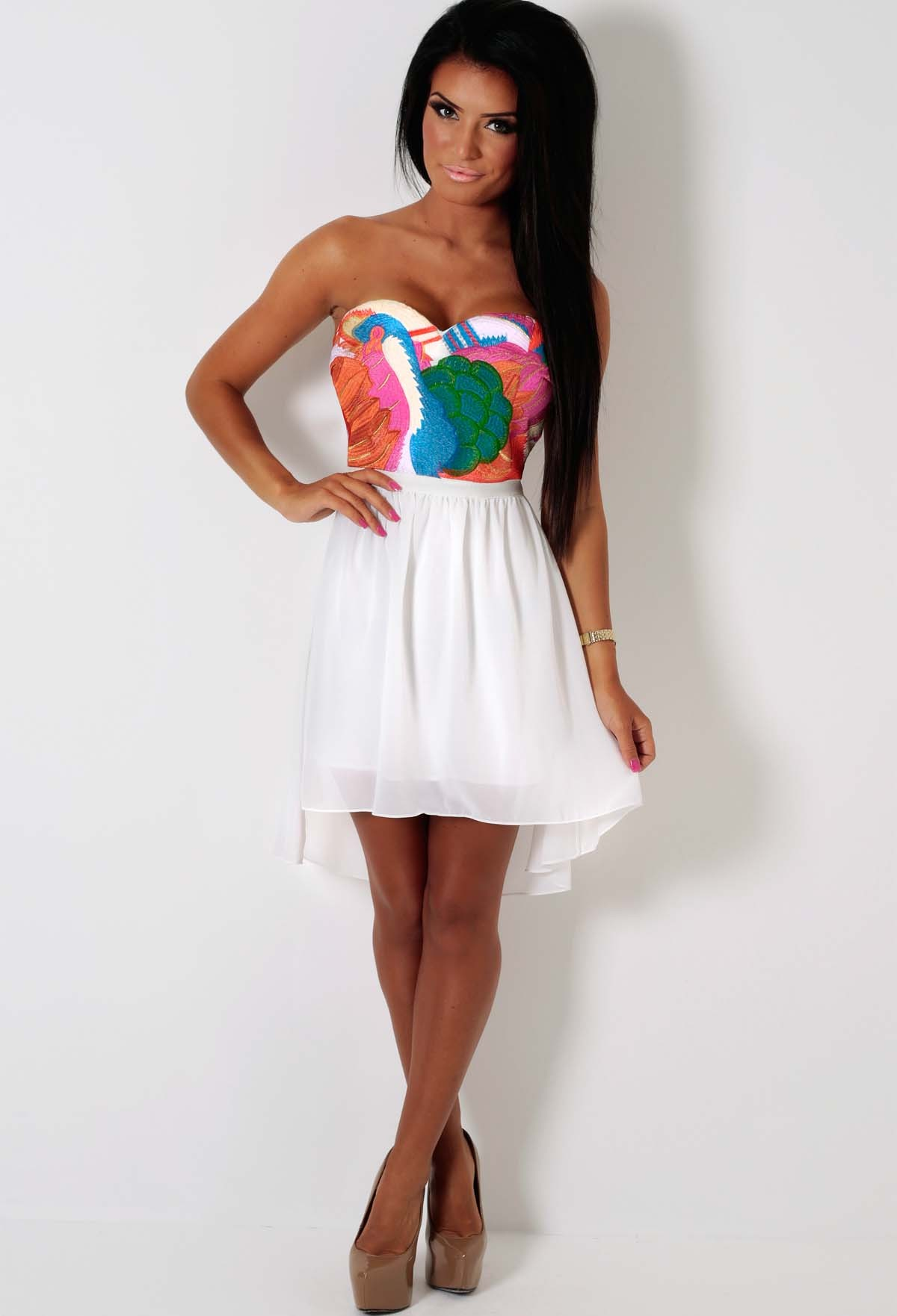 Paon LUXE White and Multicolour Bandage Skater Dress | Pink Boutique