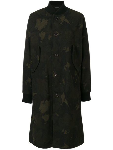 Y's jacket bomber jacket long women camouflage spandex cotton wool green