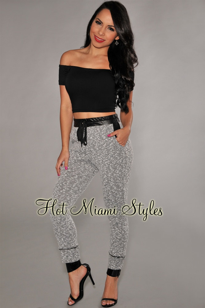 Black Accent Gray Marled Jogger Pants