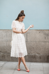 lovely pepa,blogger,dress,shoes,bag,valentino rockstud,midi dress,eyelet dress,eyelet detail,white dress,lace dress,hun,slingbacks,sandal heels,high heel sandals,spring outfits,spring dress