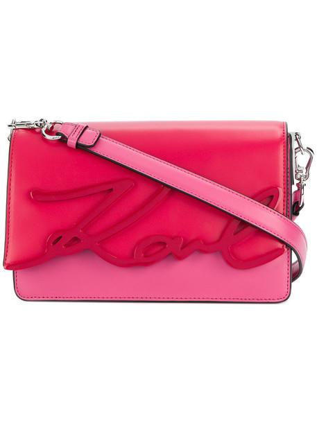 karl lagerfeld women bag shoulder bag leather purple pink