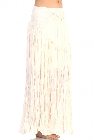 OMG Lace Flare Long Skirt - Ivory