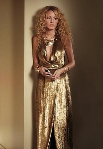 dress gold blake lively sequins dvf gossip girl serena van der woodsen