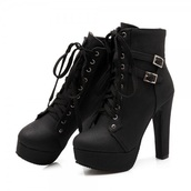 shoes,boots,black,platform heels,heels,booties,lace up