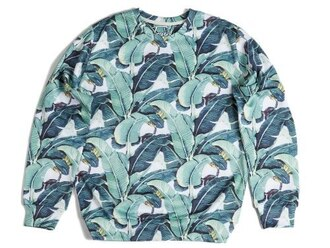 sweater fall sweater winter sweater floral floral sweater sweatshirt crewneck leaves banana leaves green green sweater fusion