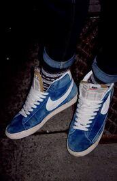 shoes,nike,blazer,blue,sneakers,nike sneakers,streetstyle