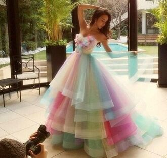 dress colorful floral formal rainbow