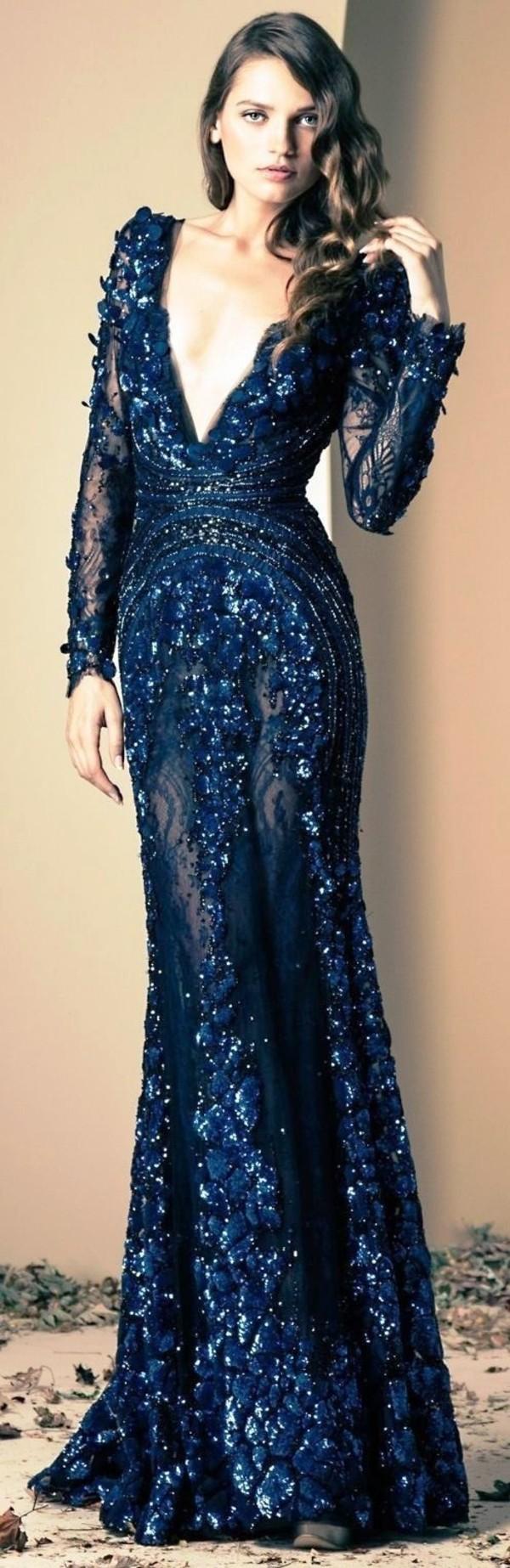 dress prom prom dress blue navy low cut long dress
