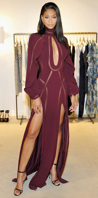 dress gown burgundy slit dress plunge v neck prom dress chanel iman sandals