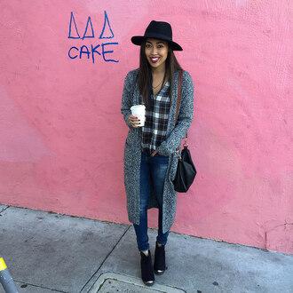 pancake stacker blogger knitted cardigan flannel shirt