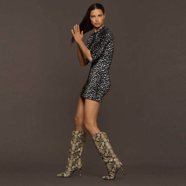 shoes python python print adriana lima boots mini dress model fall outfits