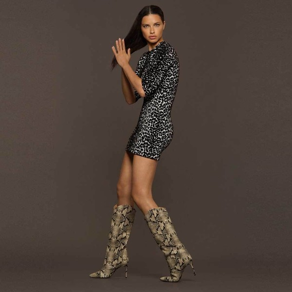 shoes python python print adriana lima boots mini dress model fall outfits