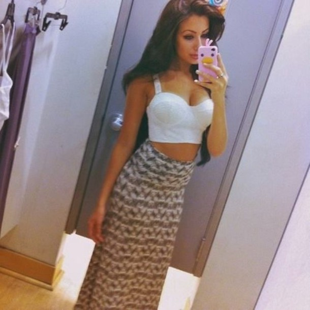 skirt clothes maxi skirt corset white crop tops