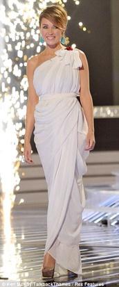 dress,danni minogue,grecian maxi dress,white dress