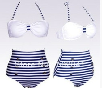 swimwear classical swim wear olden days type blue and white