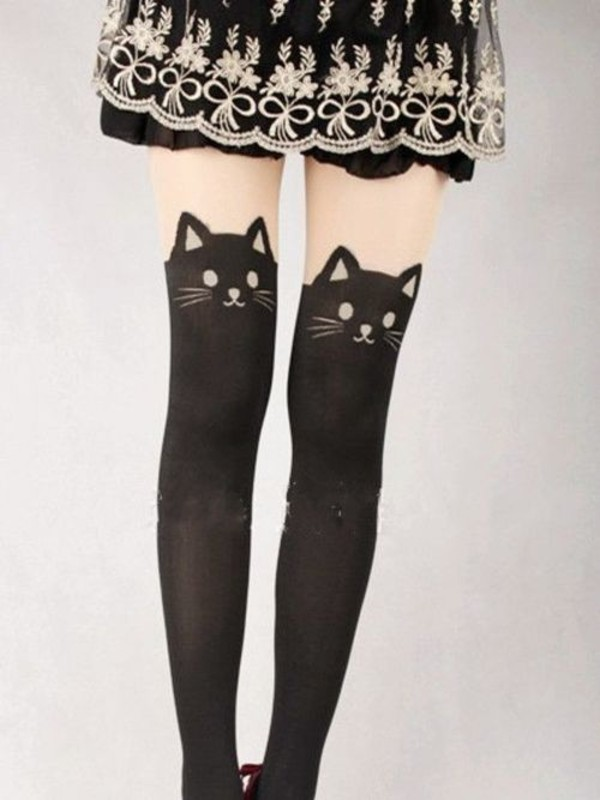 pants tights black tights cats socks cats