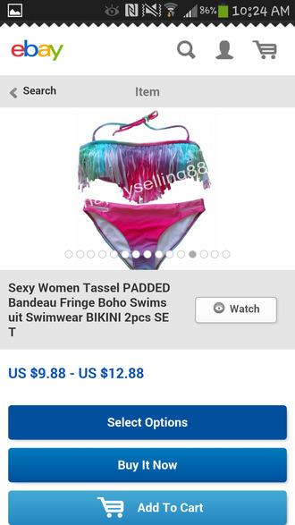 swimwear bikini colorful pink and blue