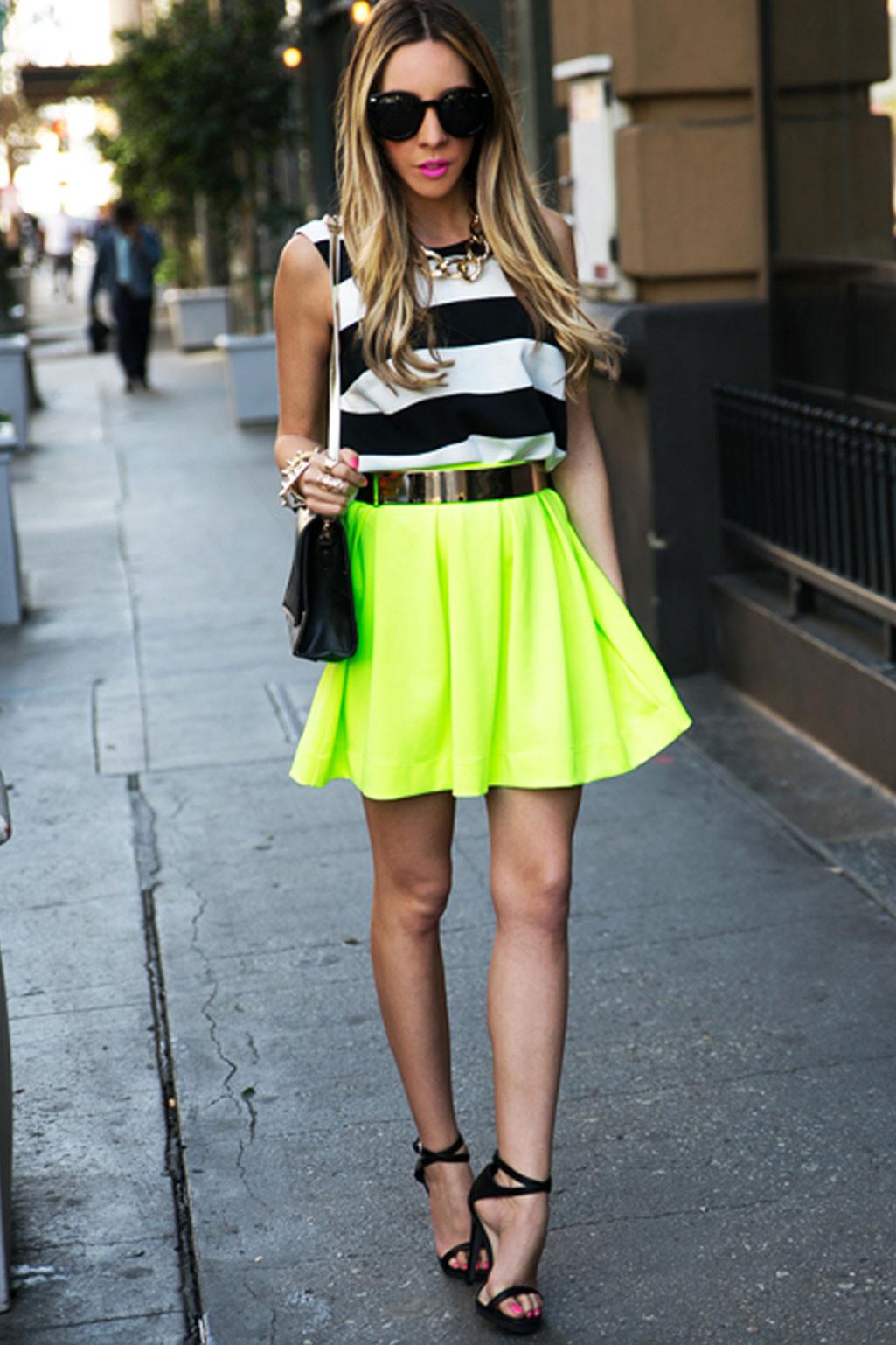 Leslee neon scuba skirt