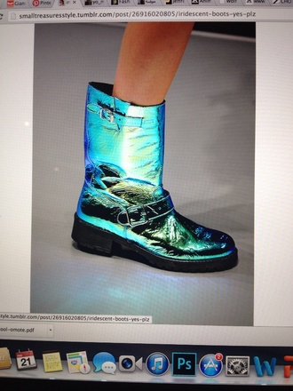 shoes holographic boots metalic shoes metallic shoes
