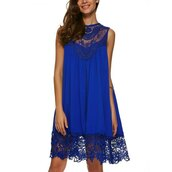 dress,club dress,shift dress,sleeveless dress,casual dress,cobalt blue dress,lace panel dress