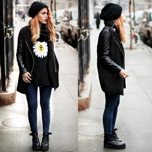 coat jacket black leather sleeves