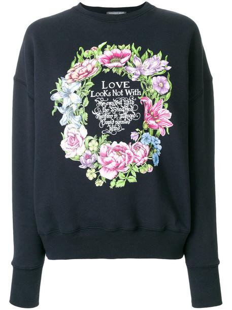 Alexander Mcqueen sweatshirt women love cotton print blue sweater