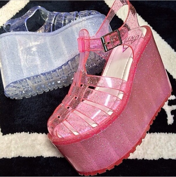 9835f847fb3 shoes gelly flatforms sparkle wedged jelly platform jellies platform shoes  glitter jellies jellyshoes sandals pastel goth
