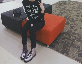 shiny shoes boots combat boots black jeans sweatshirt black edgy style trendy dope fashionista chill rad clothes jacket metallic shoes