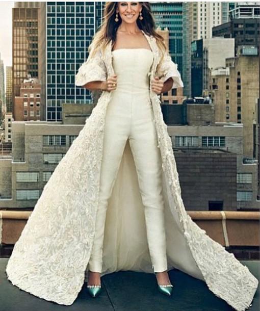 coat jumpsuit cream off-white sarah jessica parker celebrity celebrity  style celebstyle for less long 01f91fc0cd4e