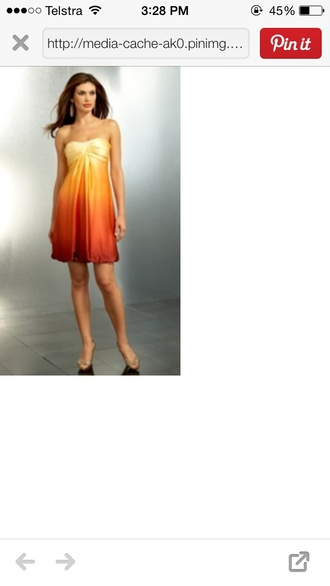 dress ombre sunset charmeuse silk satin b & j fabrics chiffon ombre charmeuse banovic-bridesmaid dresses cache orange ombre twist bust bubble  dress caché