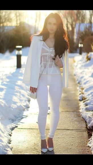 high heels jacket pretty white high heels pants blouse bag white white shoes white lace top skinny pants white skinny jeans summer outfits shoes