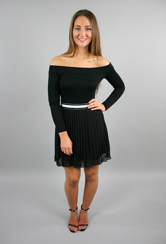 Black Pleated Darcy Skirt