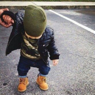 jacket camouflage kids fashion timberland dope wishlist khaki quilted black jacket beanie