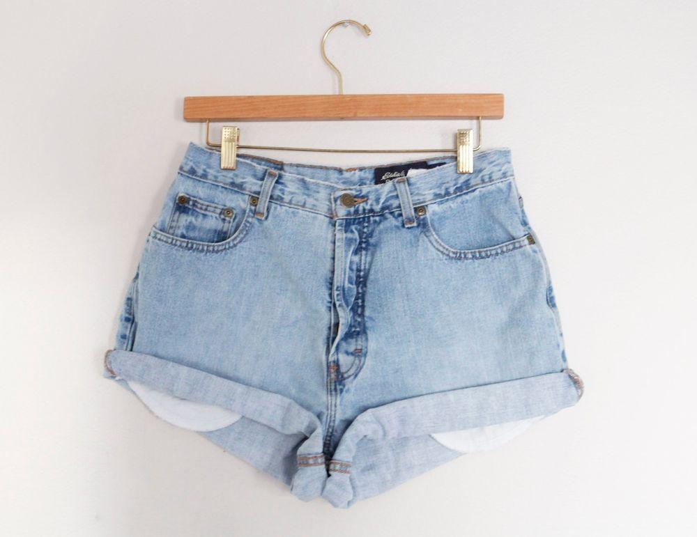 Vintage light/medium wash high waisted cut offs cuffed jean denim shorts