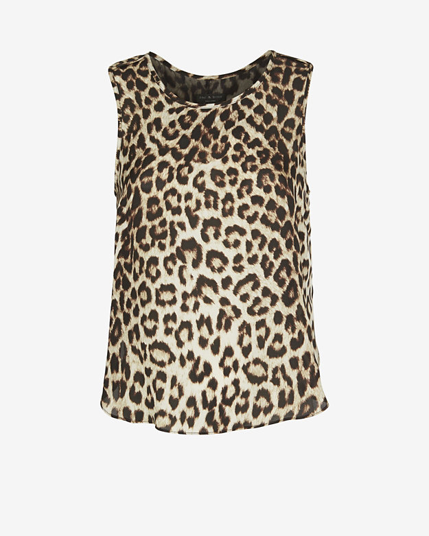 Rag & bone leopard print sleeveless fleet silk top