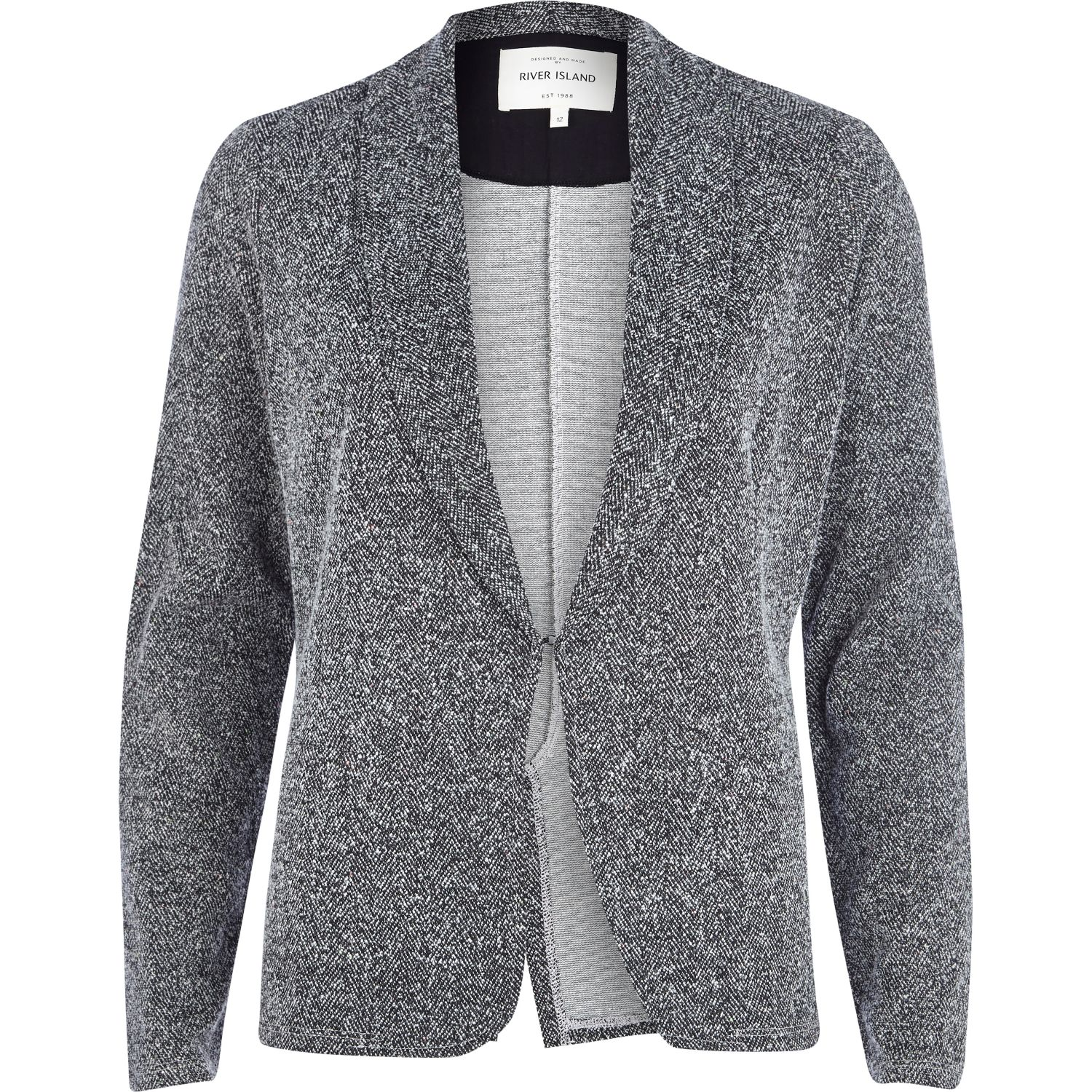 Grey tweed jersey blazer