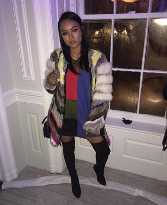 dress oversized sweater oversized karrueche fashion week 2016 fur coat ny fashion week 2016 coat jacket multicolor