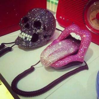 phone cover phone telephone skull bones glitter glitter phone funny home tongue home decor home accessory tongue phone tongue out